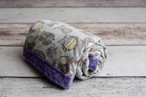 Custom Weighted Blanket Amethyst/Owls Combo Roll