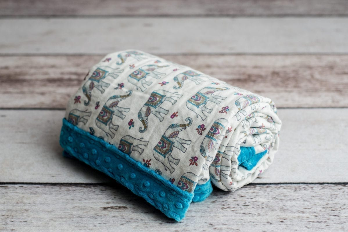 Custom Weighted Blanket Teal/Elephants Combo Roll
