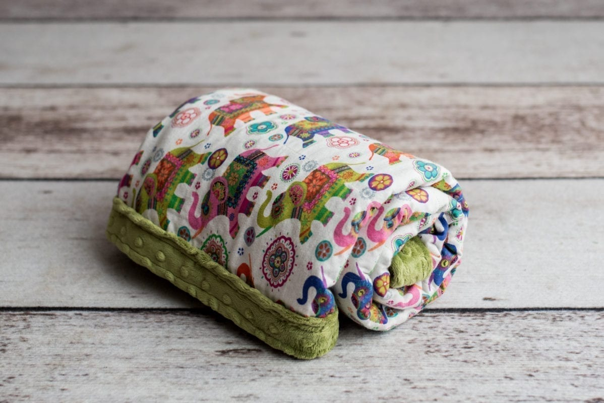 Custom Weighted Blanket Kiwi/Elephants Combo Roll